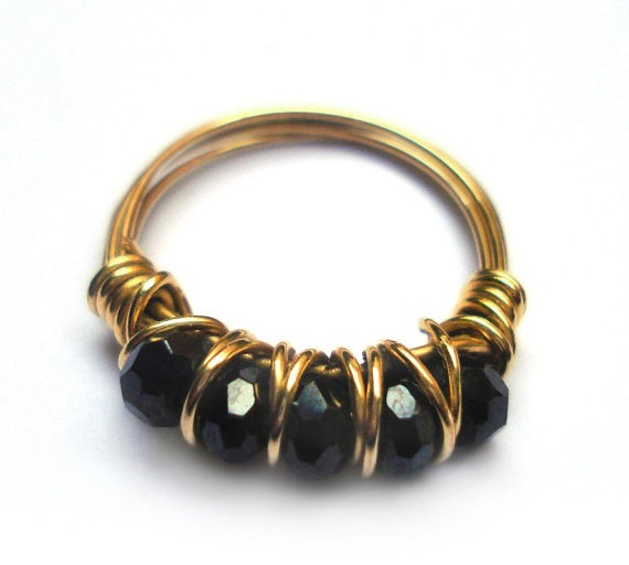 black wire wrapped ring handmade jewelry