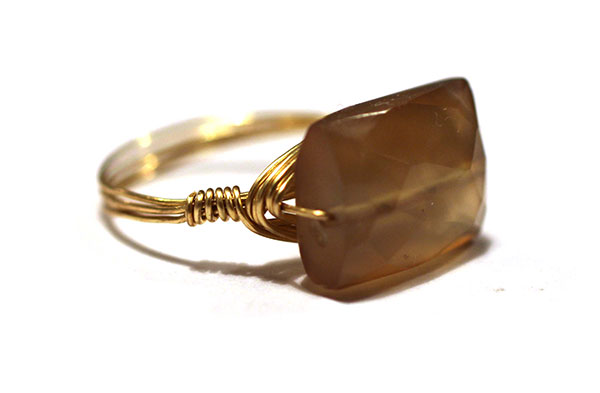 Gold Wire Wrapped Handmade Ring with Brown Gemstone