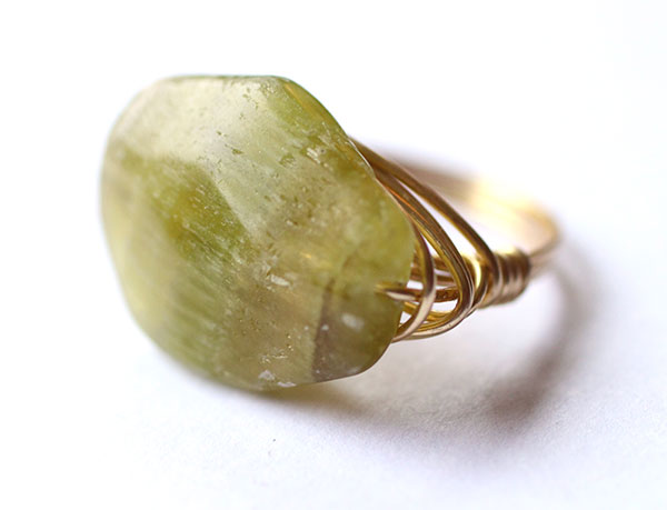 Green Goddess Wire Wrapped Ring