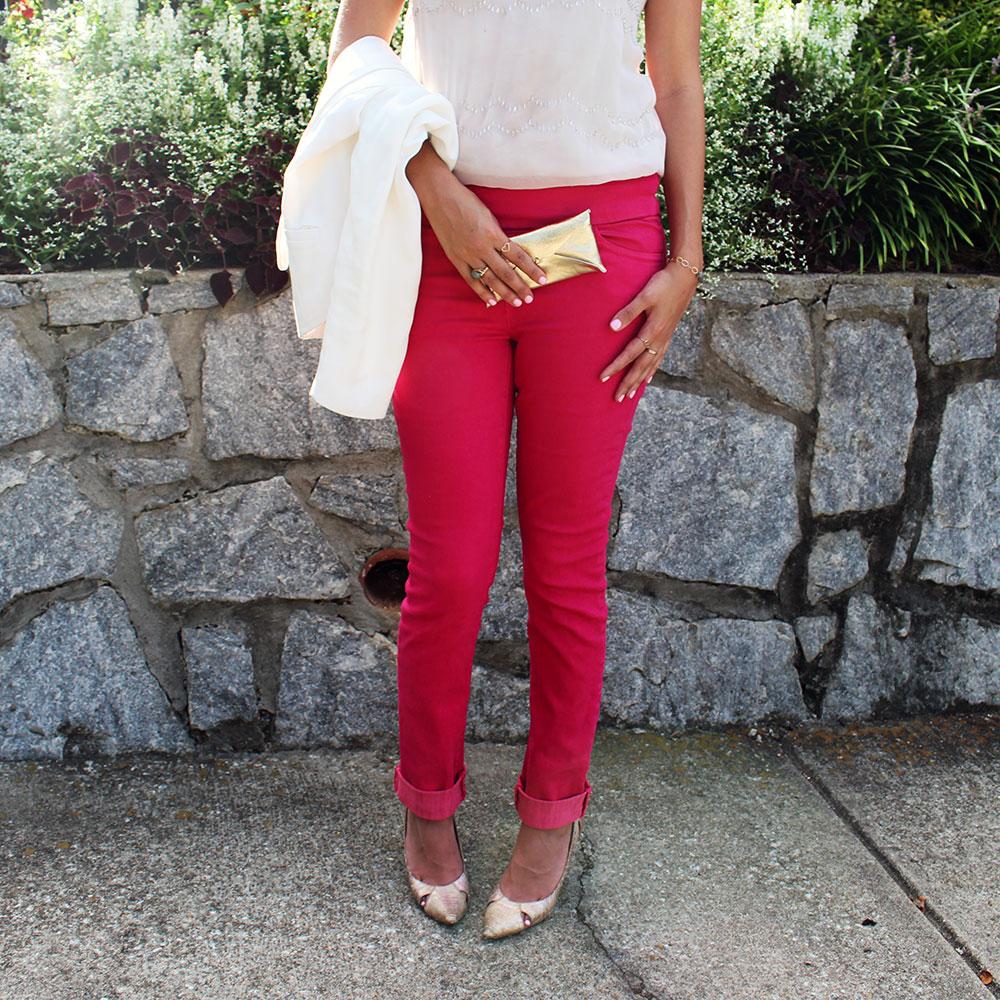 stitch-fix-pink-pants-white-blazer-summer-fashion-trends-gold-clutch